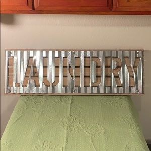 "NWOT Rustic/Industrial ""LAUNDRY"" Sign - Wood & Tin"